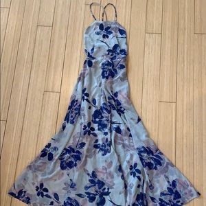 Lulu's Blue & Grey Floral Print Lace-Up Maxi Dress